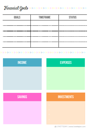 financial goals - finance tracker - lovettejam